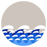 Origami paper art style of sea waves Royalty Free Stock Photos