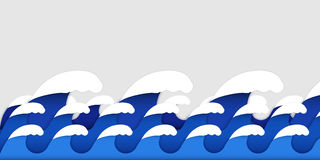 Origami paper art style of sea waves Stock Images