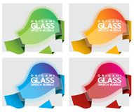 Origami paper banner with glossy glass effect. Sale banner set template design. Special offer. Discount tag, badge, emblem royalty free illustration