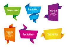 Origami paper banners. In bright colours Royalty Free Stock Images