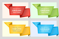 Origami paper banners for side. Price tag template for catalog. Color stickers. Vector. Illustration royalty free illustration