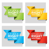 Origami paper banners for side tag. Price tag template for catalog. Color stickers for shop. Vector Stock Images