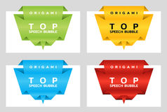Origami paper banners for top. Price tag template for catalog. Color stickers. Vector. Illustration royalty free illustration