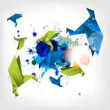Origami paper bird on abstract background Stock Photography