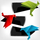 Origami paper bird on abstract background Royalty Free Stock Photography