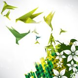 Origami paper bird on abstract background. This is file of EPS10 format royalty free illustration