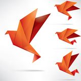 Origami paper bird on abstract background Stock Photo