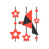 Origami paper bird on abstract background. Flat style, the Japanese theme vector illustration