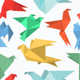 Origami paper birds in a flat style. Stock Images