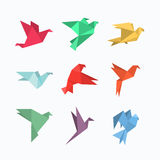 Origami paper birds in a flat style. Royalty Free Stock Photos