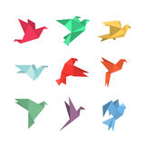Origami paper birds in a flat style. Royalty Free Stock Photo
