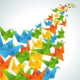 Origami paper birds flight abstract background Royalty Free Stock Images