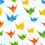 Origami paper birds flight abstract background Royalty Free Stock Photo