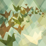 Origami paper birds geometric retro background Stock Photography