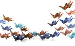 Origami paper birds Royalty Free Stock Image