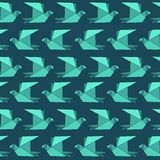 Origami flat paper birds seamless pattern in turquoise vector illustration