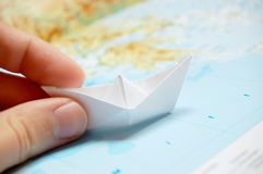 Origami: paper boat Stock Photo