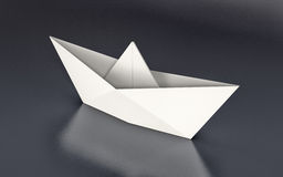 Origami, paper boat. One paper boat on dark background (3d render Royalty Free Stock Photography
