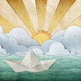 Origami paper boat recycled paper craft Royalty Free Stock Photo