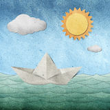 Origami Paper Boat Recycled Paper Craft Stock Image