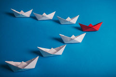 Origami paper boats, leadership concept Royalty Free Stock Photography