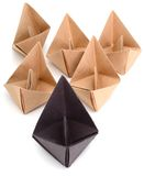 Origami paper boats Stock Image