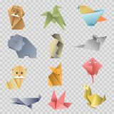Origami paper cartoon animals, birds and fishes vector flat icons. Origami paper animals, birds and fishes flat set on transparent background, Vector isolated Stock Photo