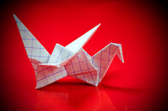 An origami paper crane. Stock Photos