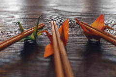Origami paper crane chopsticks rest Royalty Free Stock Images