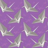 Origami paper cranes. Seamless pattern. Seamless pattern with origami paper cranes Royalty Free Stock Photography