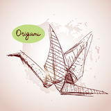 Origami paper cranes sketch. line on beige background.Grunge tex Royalty Free Stock Images