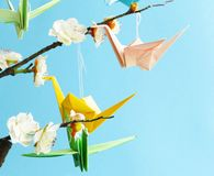 Origami paper cranes a symbol Royalty Free Stock Photography