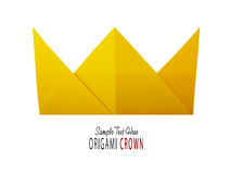 Origami paper crown. Origami paper yellow gold king crown irony on a white background Royalty Free Stock Photography