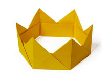 Origami paper crown. Origami paper yellow gold king crown irony on a white background Stock Photography