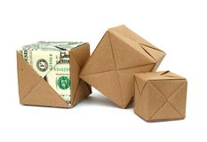 Origami paper cube Royalty Free Stock Photography