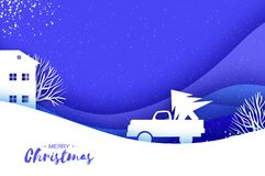 Origami paper cut car with Christmas tree on blue. Merry Christmas and Happy New Year. Origami Winter Landscape. Village vector illustration