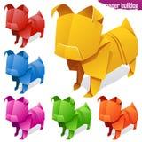 Origami paper dog set Stock Photo