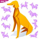 Origami paper dog. Vector origami paper dog. Yellow greyhound and icons of different breeds of dogs isolated on white background. Concept of Pet Shop or 2018 Royalty Free Stock Photo