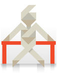 Origami paper figure. Color illustration of origami paper man sitting on the bench Stock Photo
