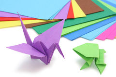 Origami paper and figures Stock Photo