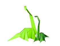 Origami. Paper figures of dinosaurs Royalty Free Stock Photography