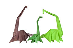 Origami. Paper figures of dinosaurs Royalty Free Stock Photos