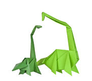 Origami. Paper figures of dinosaurs Stock Photo