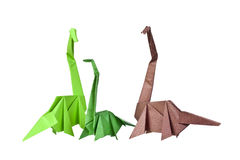 Origami. Paper figures of dinosaurs Royalty Free Stock Image