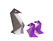 Origami. Paper figures of penguins Royalty Free Stock Image