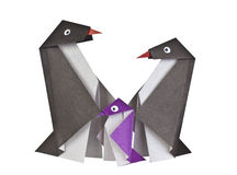 Origami. Paper figures of penguins Royalty Free Stock Photography