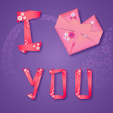 Origami paper floral love card Royalty Free Stock Image