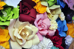 Origami paper flowers collage Stock Photos