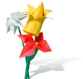 Origami paper flowers - red, yellow, white Stock Photography