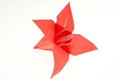 Origami Paper Folding Lily. Paper folding origami of a lily isolated on white background Royalty Free Stock Photo